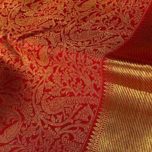 Kanchipuram Silk Red Brocade Saree full