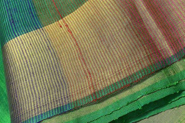 Soft silk saree in handwoven emerald green Screen reader support enabled. Soft silk saree in handwoven emerald green